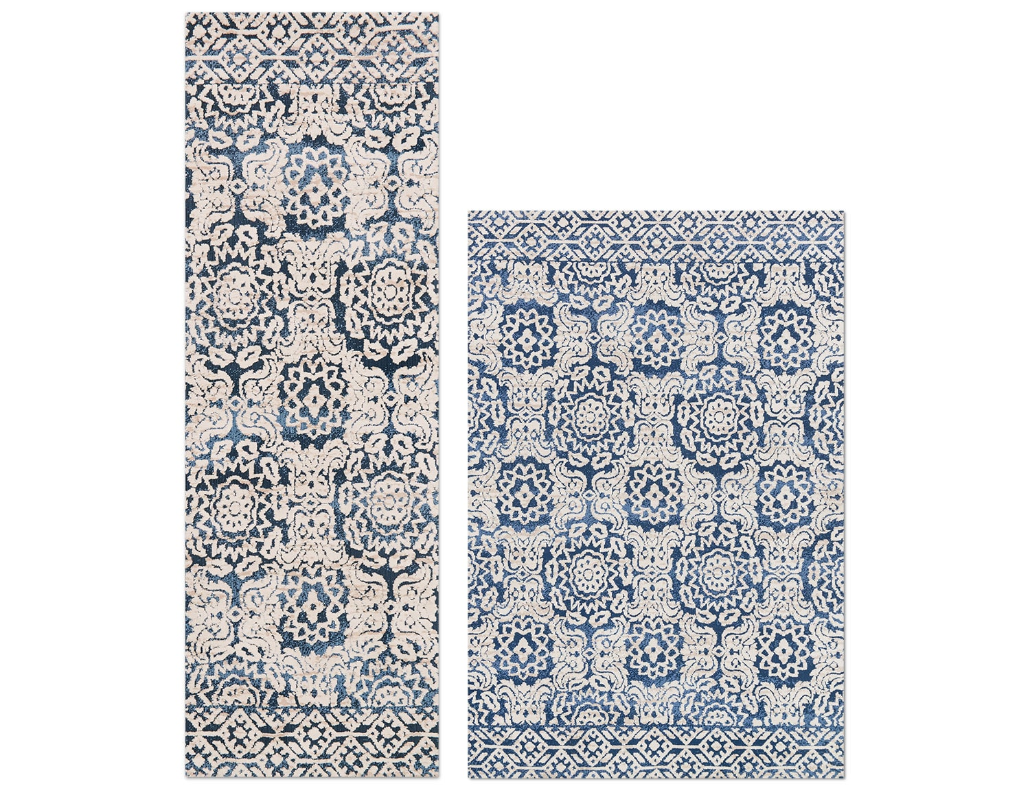 The Lotus Collection - Blue and Antique Ivory