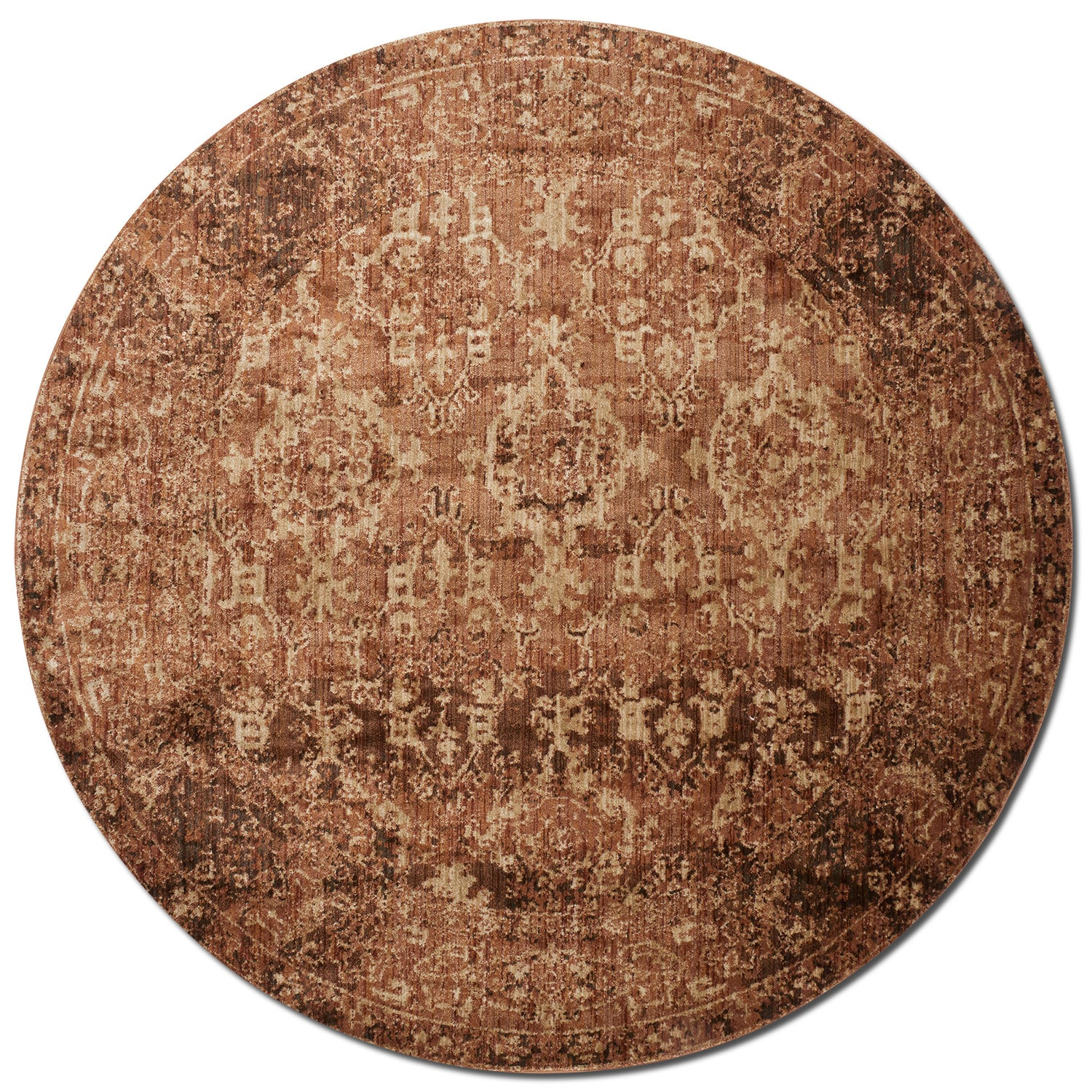 Rugs - Kivi 5' Round Rug - Sand and Copper