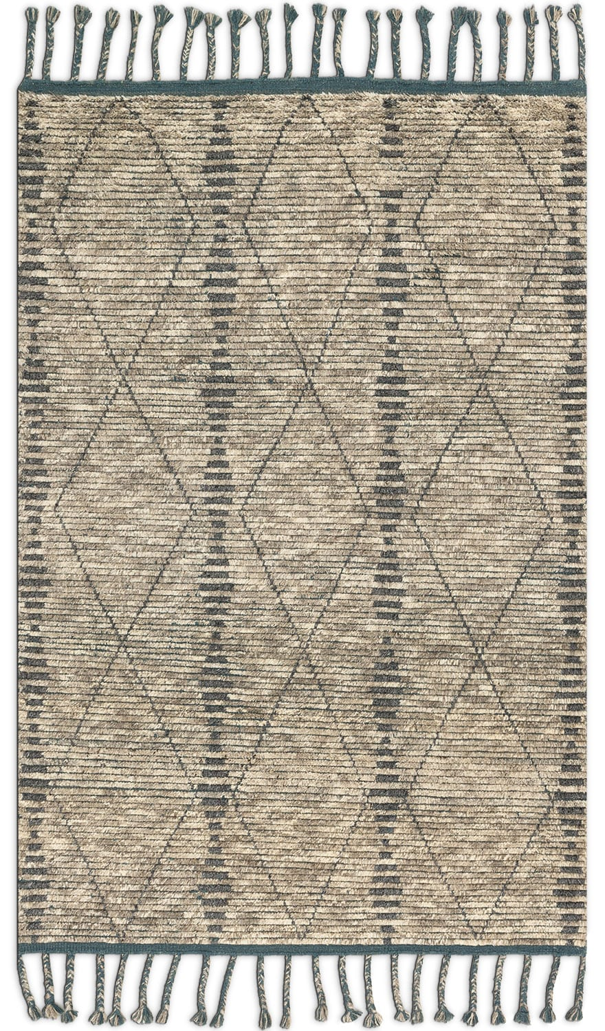 Rugs - Tulum 8' x 10' Rug - Stone and Blue