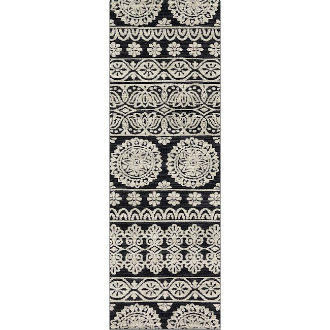 Rugs - Lotus 3' x 8' Rug - Black and Silver