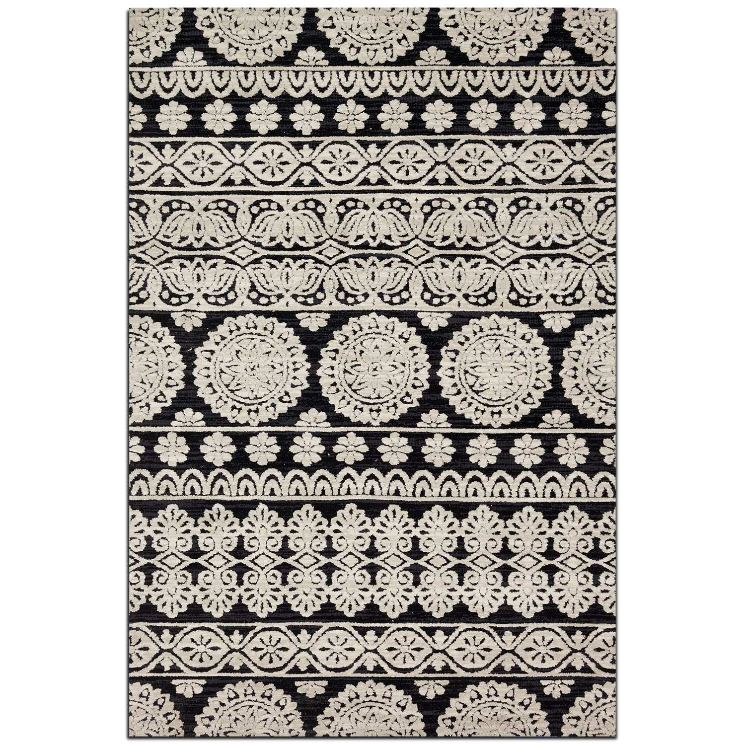 Rugs - Lotus 9' x 13' Rug - Black and Silver
