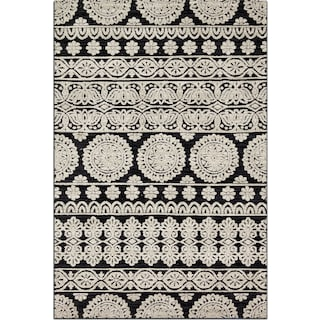 Lotus 4' x 6' Rug - Black and Silver