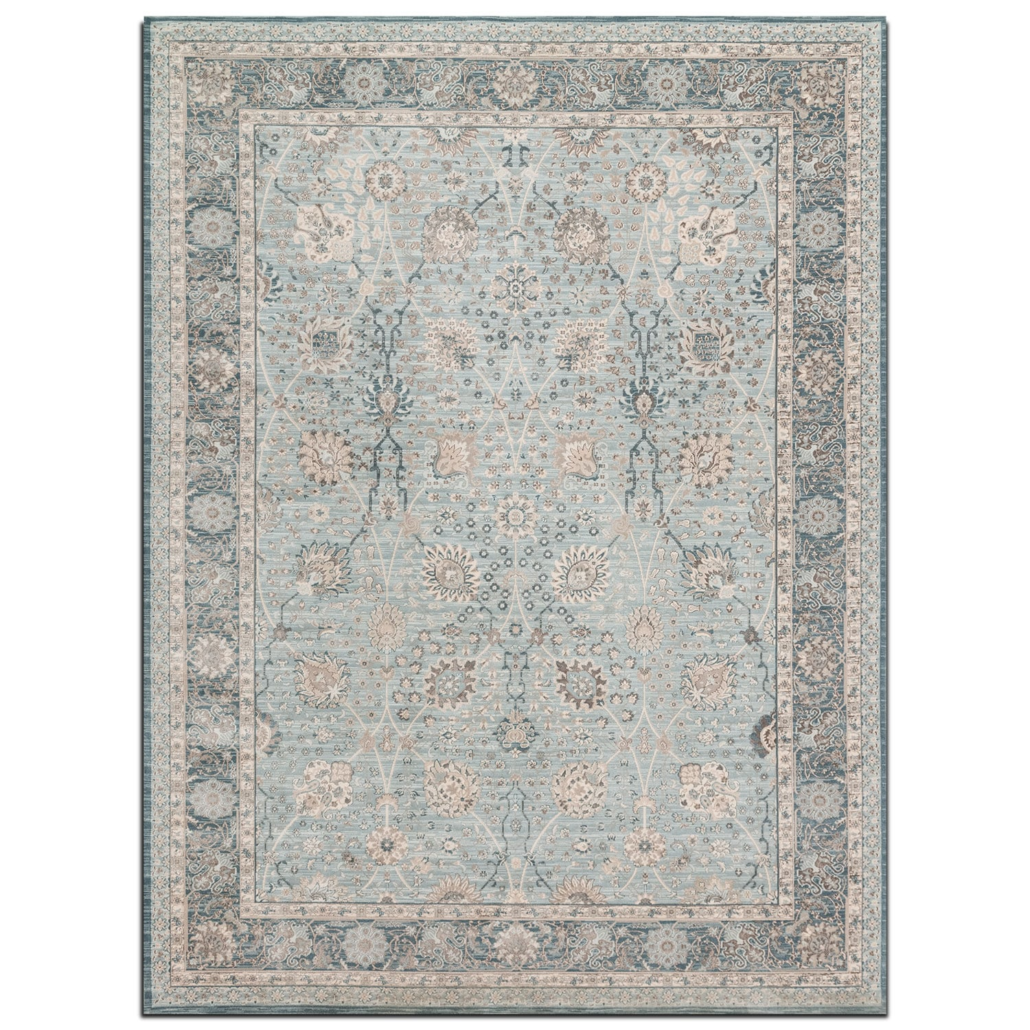 Rugs - Ella Rose 4' x 6' Rug - Light and Dark Blue