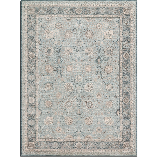 Rugs - Ella Rose 7' x 10' Rug - Light and Dark Blue