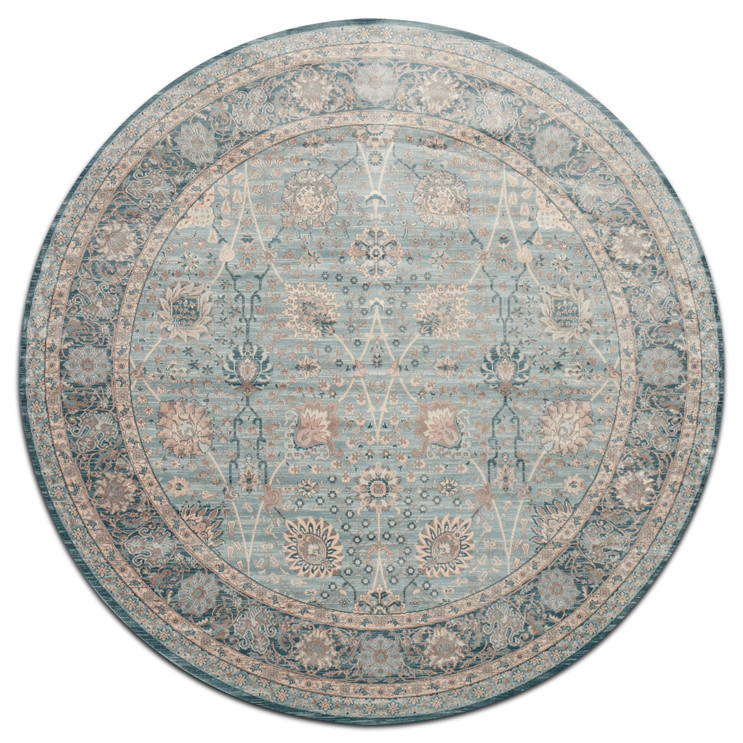 Rugs - Ella Rose 9' Round Rug - Light and Dark Blue