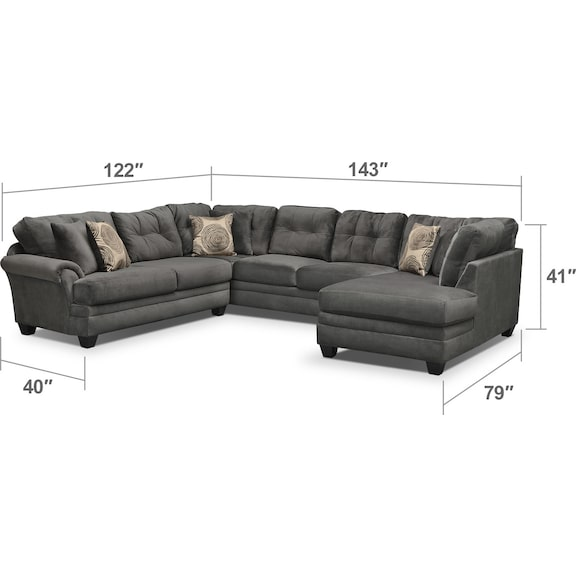 Living Room Furniture - Cordelle 3-Piece Sectional - Gray