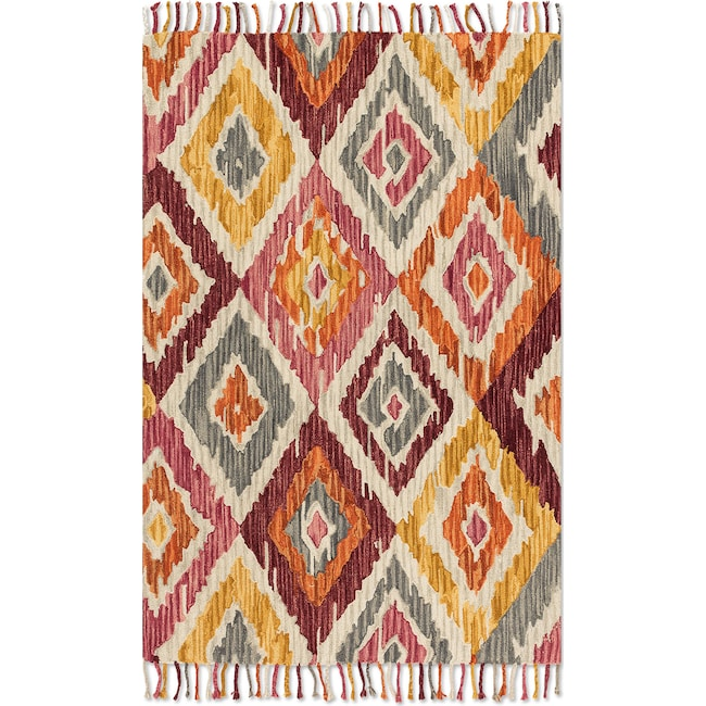 Rugs - Brushstroke 4' x 6' Rug - Silver and Sunset