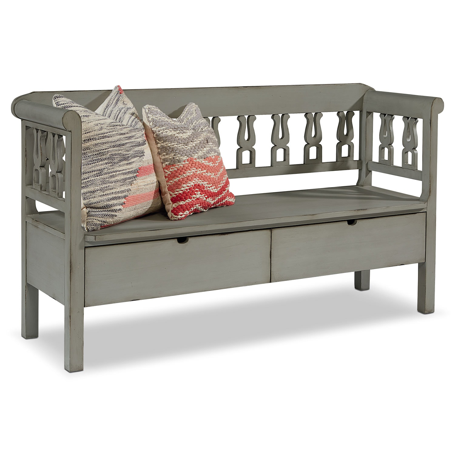 Accent and Occasional Furniture - Hall Bench with Storage - Dove Grey