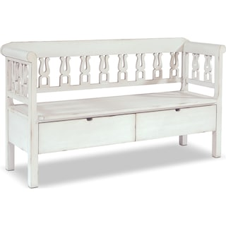 Hall Bench with Storage - White
