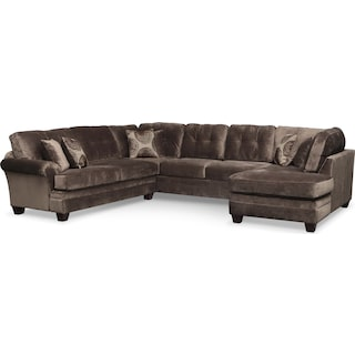 Cordelle 3-Piece Sectional - Chocolate