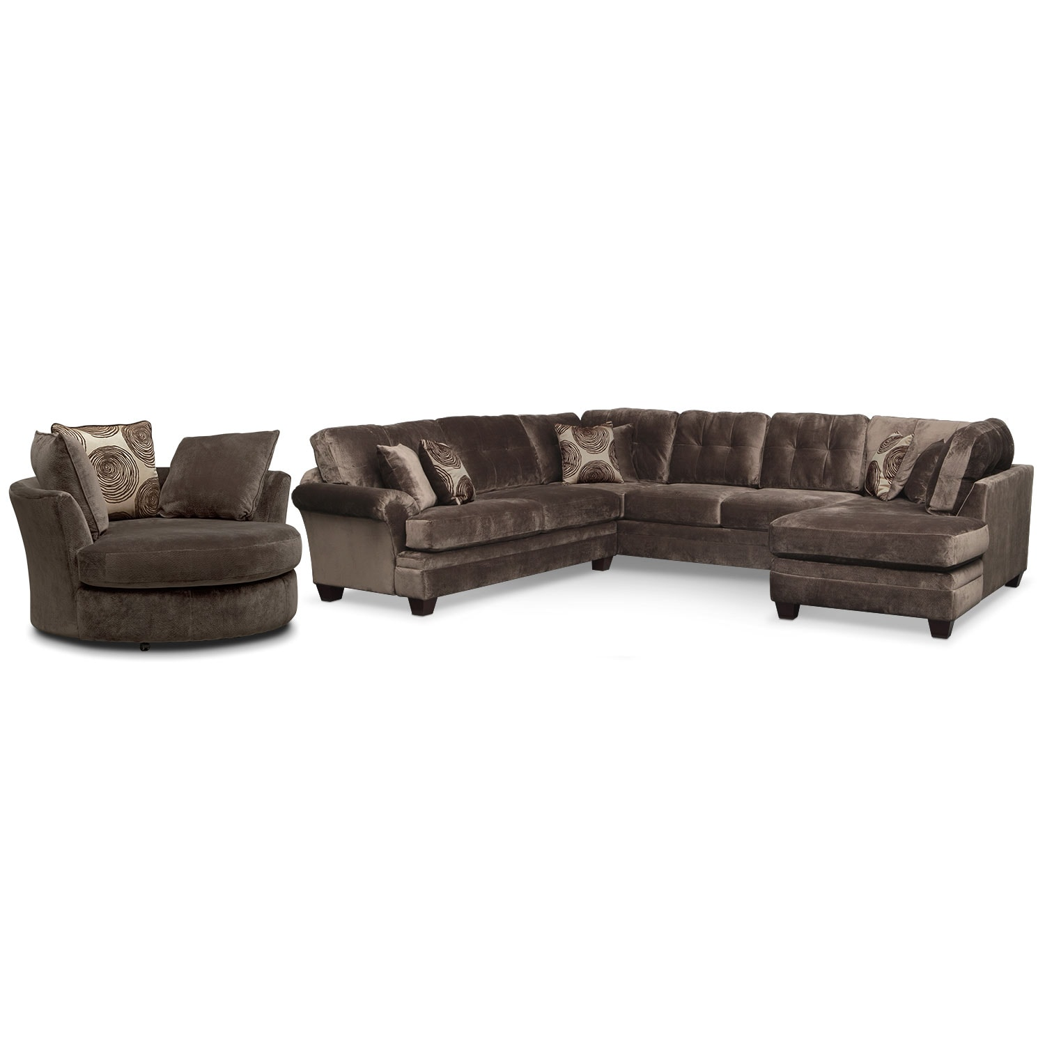 Living Room Furniture - Cordelle 3-Piece Sectional and Swivel Chair Set - Chocolate