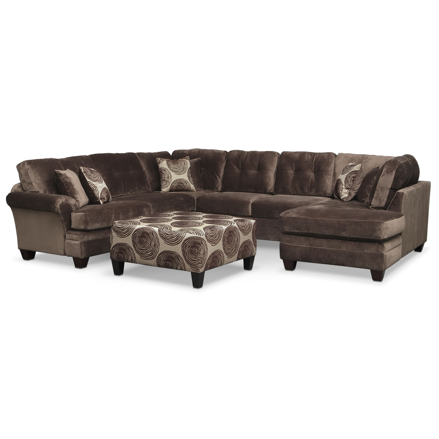 Living Room Furniture - Cordelle 3-Piece Sectional and Cocktail Ottoman Set - Chocolate