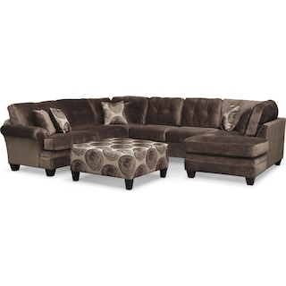 Cordelle 3-Piece Sectional and Cocktail Ottoman Set - Chocolate
