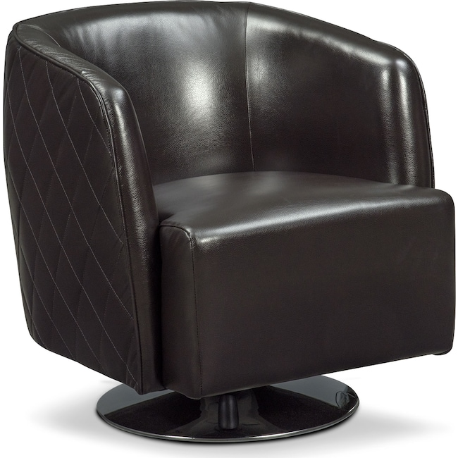 Living Room Furniture - Santana Swivel Chair - Black