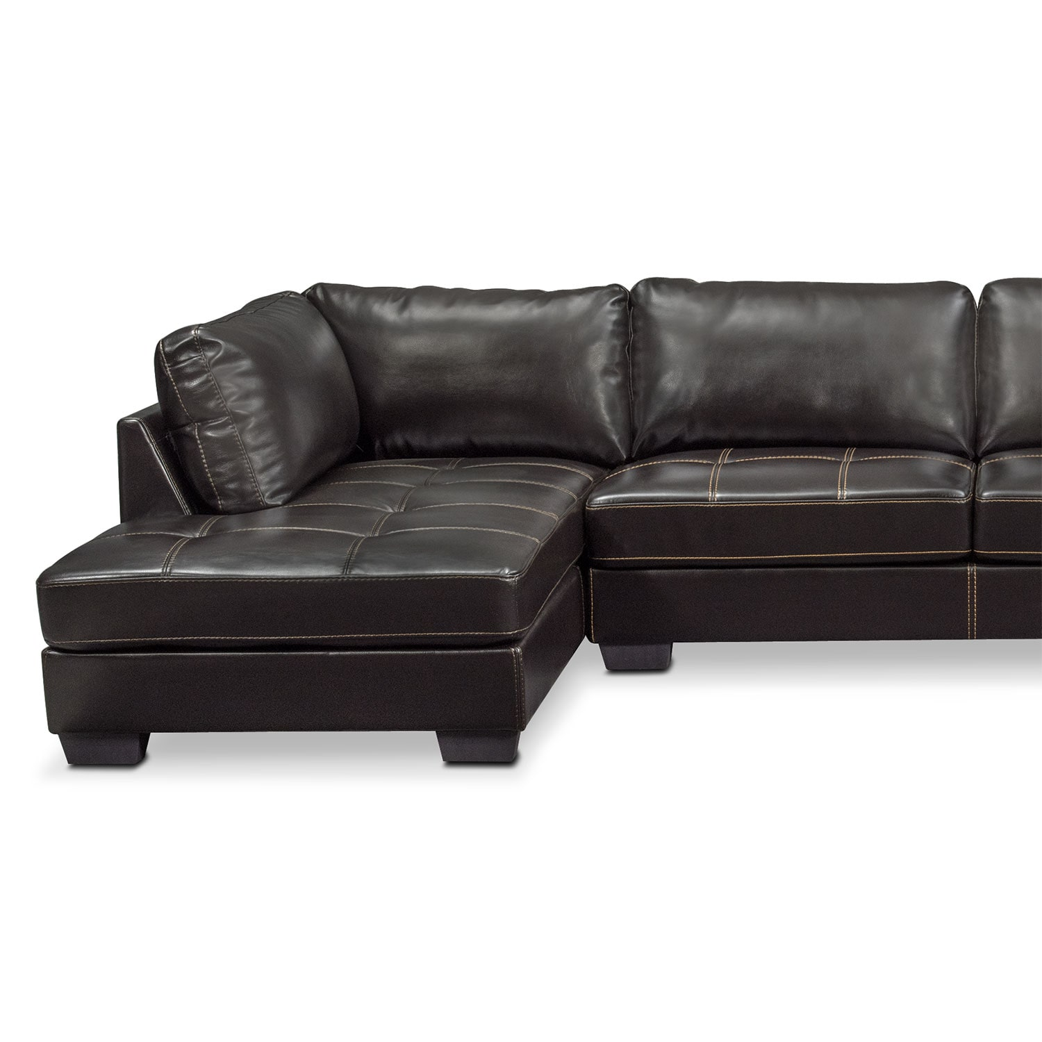 Santana 3 Piece Sectional Black