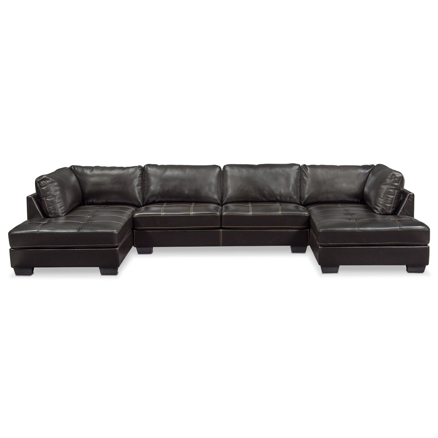 Santana 3-Piece Sectional - Black  sc 1 st  Value City Furniture : vcf sectional - Sectionals, Sofas & Couches