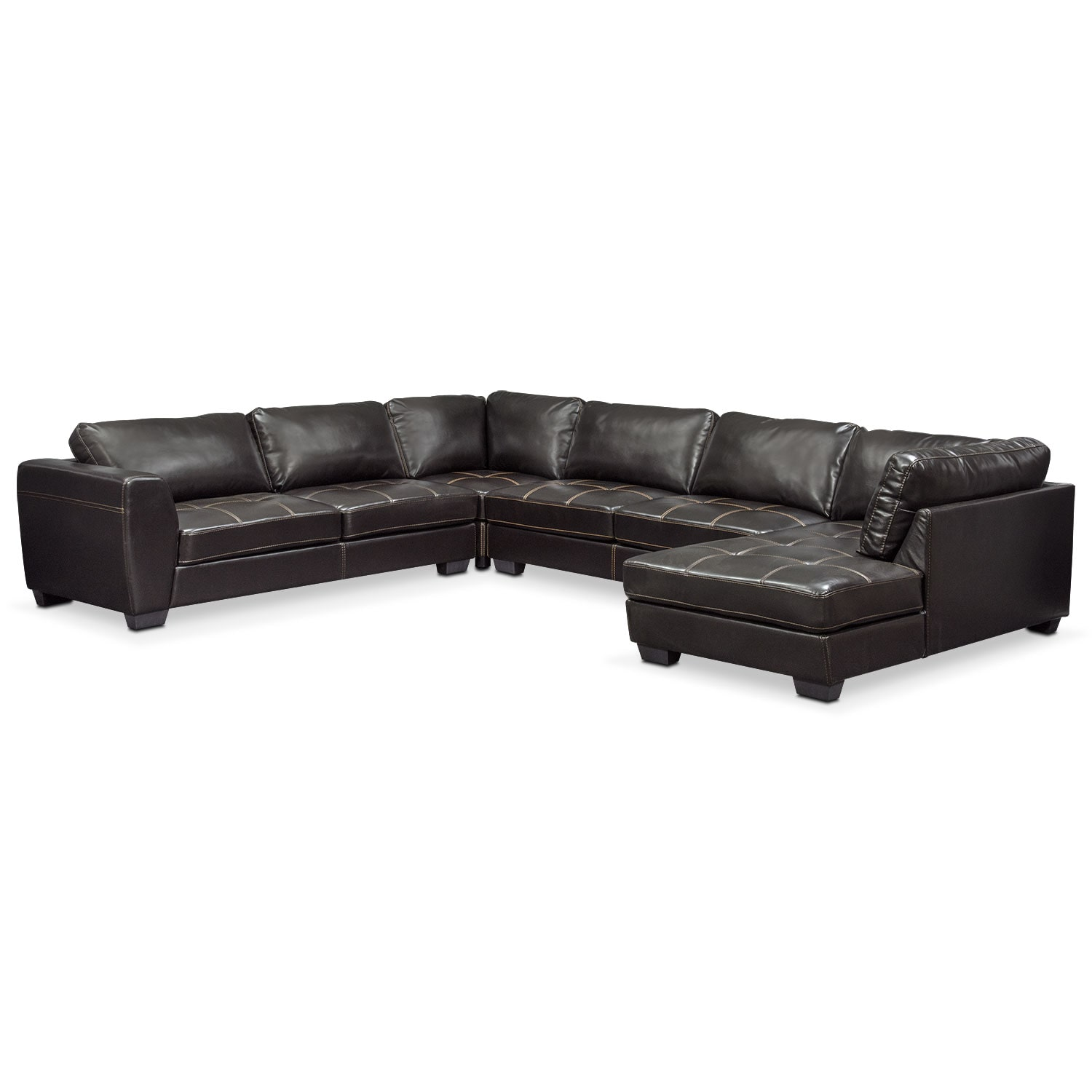 Santana 4-Piece Sectional with Right-Facing Chaise - Black