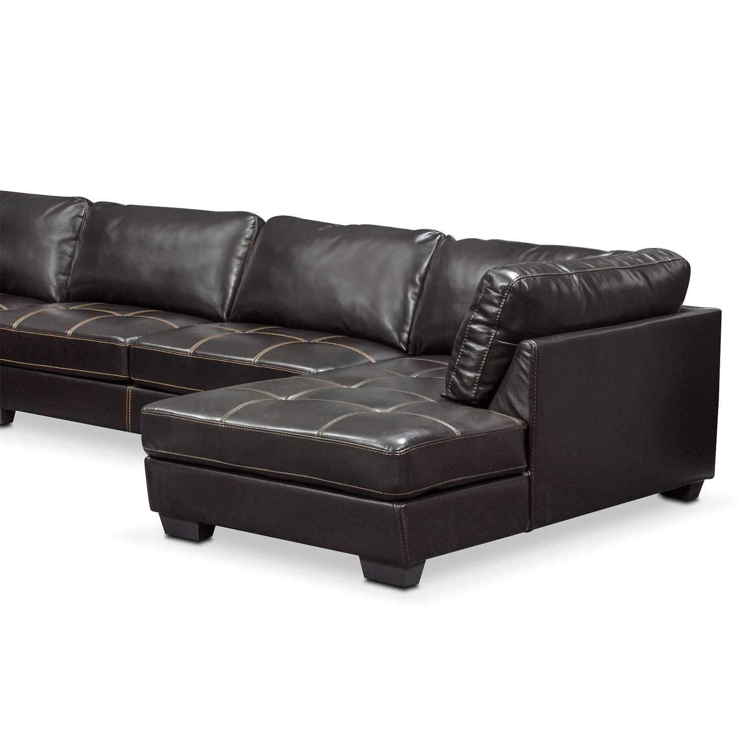 Santana 4 Piece Sectional with Right Facing Chaise Black
