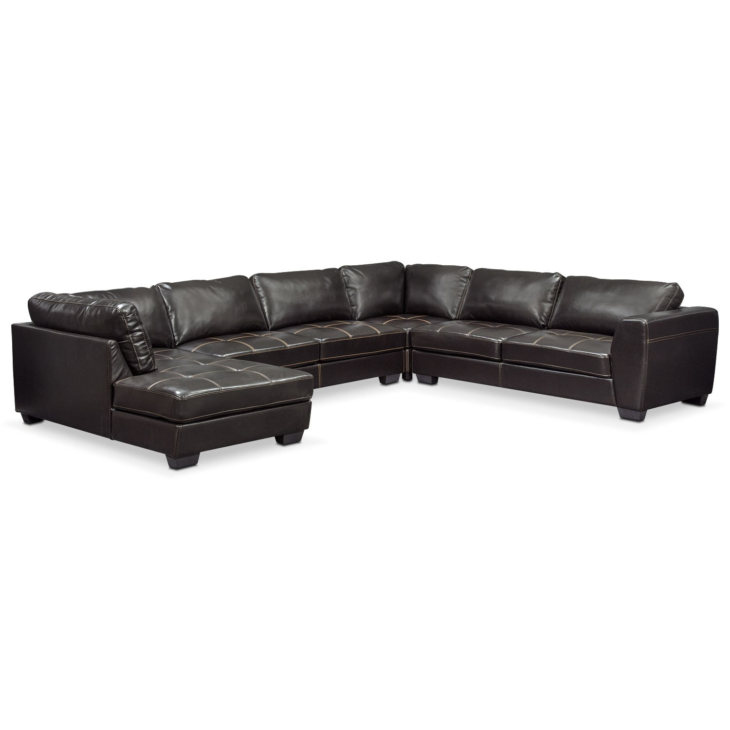 Living Room Furniture - Santana 4-Piece Sectional with Chaise