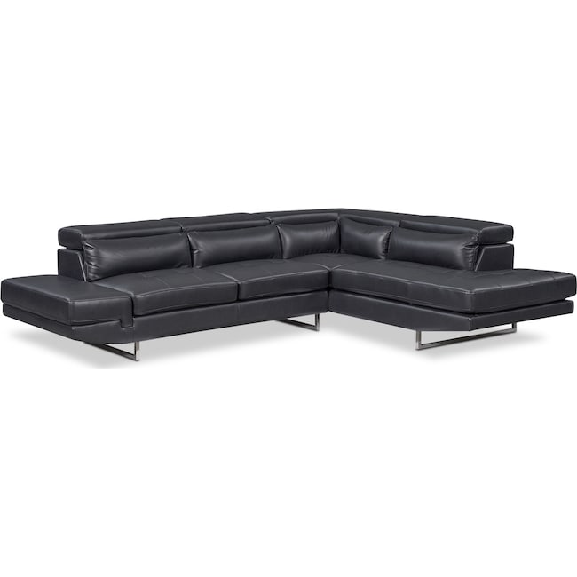 Living Room Furniture - Torino 2-Piece Sectional with Right-Facing Chaise - Charcoal