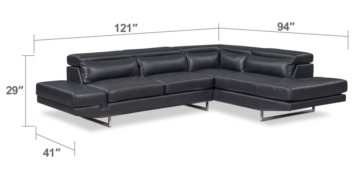 Living Room Furniture - Torino 2-Piece Sectional with Right-Facing Chaise- Charcoal