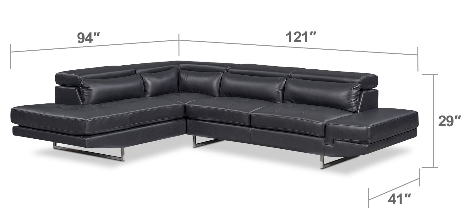 Living Room Furniture - Torino 2-Piece Sectional with Left-Facing Chaise - Charcoal
