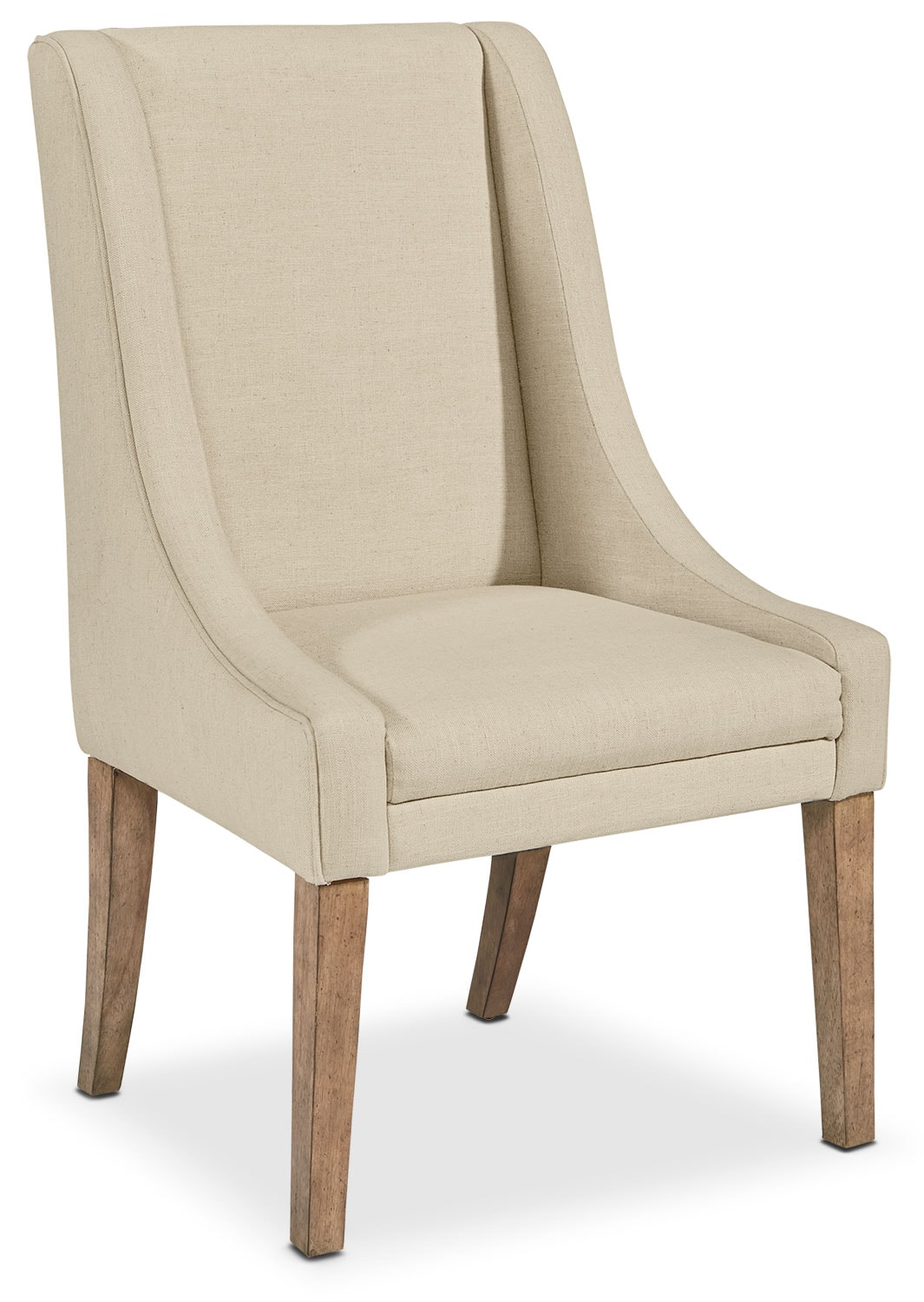 French Demi-Wing Upholstered Side Chair - Linen