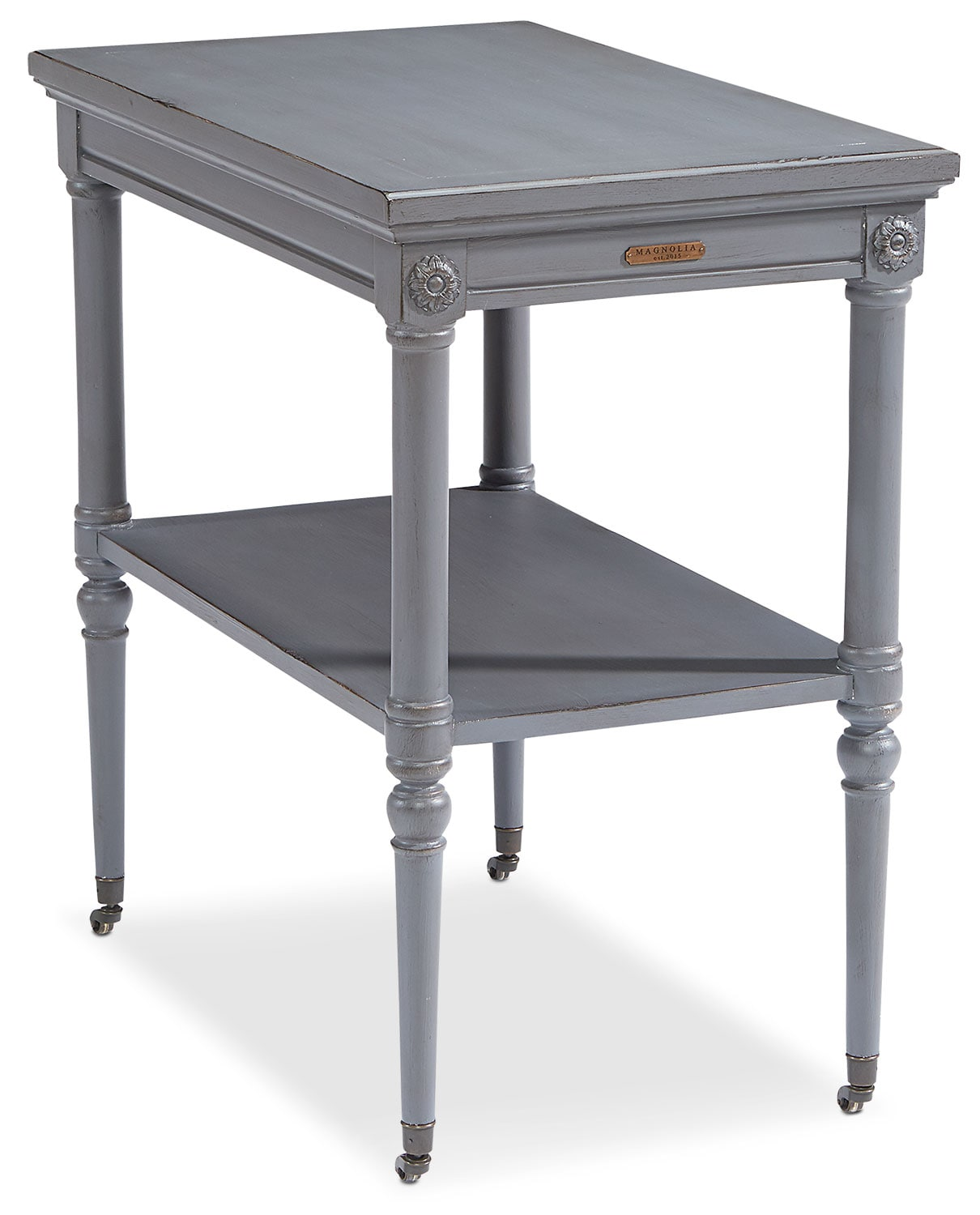Accent and Occasional Furniture - Petite Rosette Table withe Casters- Dove Grey