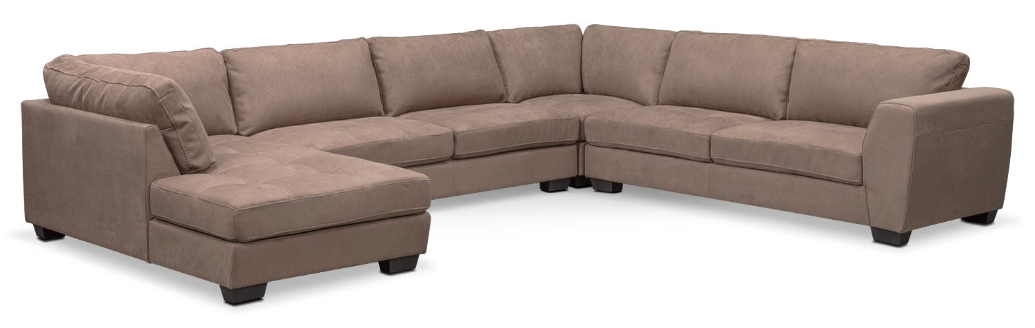 Living Room Furniture - Santana 4-Piece Sectional with Left-Facing Chaise - Taupe  sc 1 st  Value City Furniture : 4 piece sectional sofa with chaise - Sectionals, Sofas & Couches