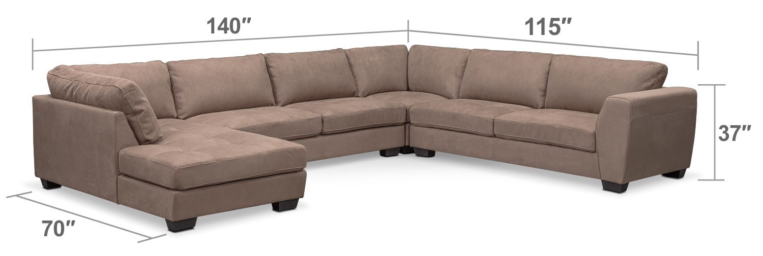 Santana 4 piece sectional with left facing chaise taupe for Brighton taupe 3 piece chaise and sofa set