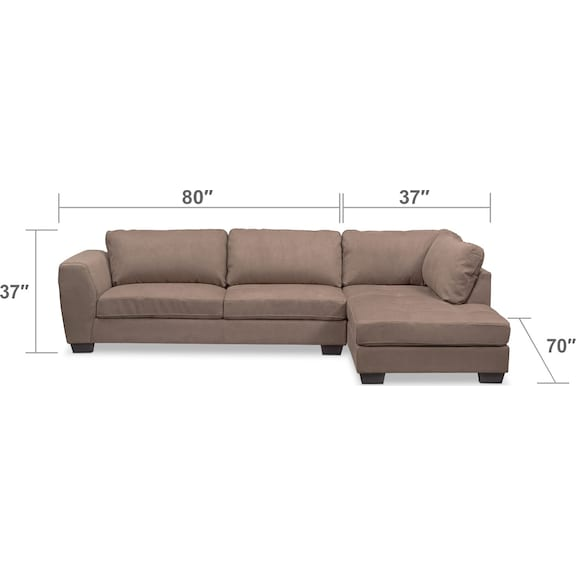 Living Room Furniture - Santana 2-Piece Sectional with Right-Facing Chaise - Taupe