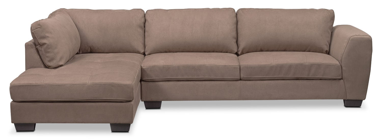 Living Room Furniture - Santana 2-Piece Sectional with Left-Facing Chaise - Taupe
