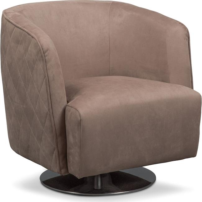 Living Room Furniture - Santana Swivel Chair - Taupe