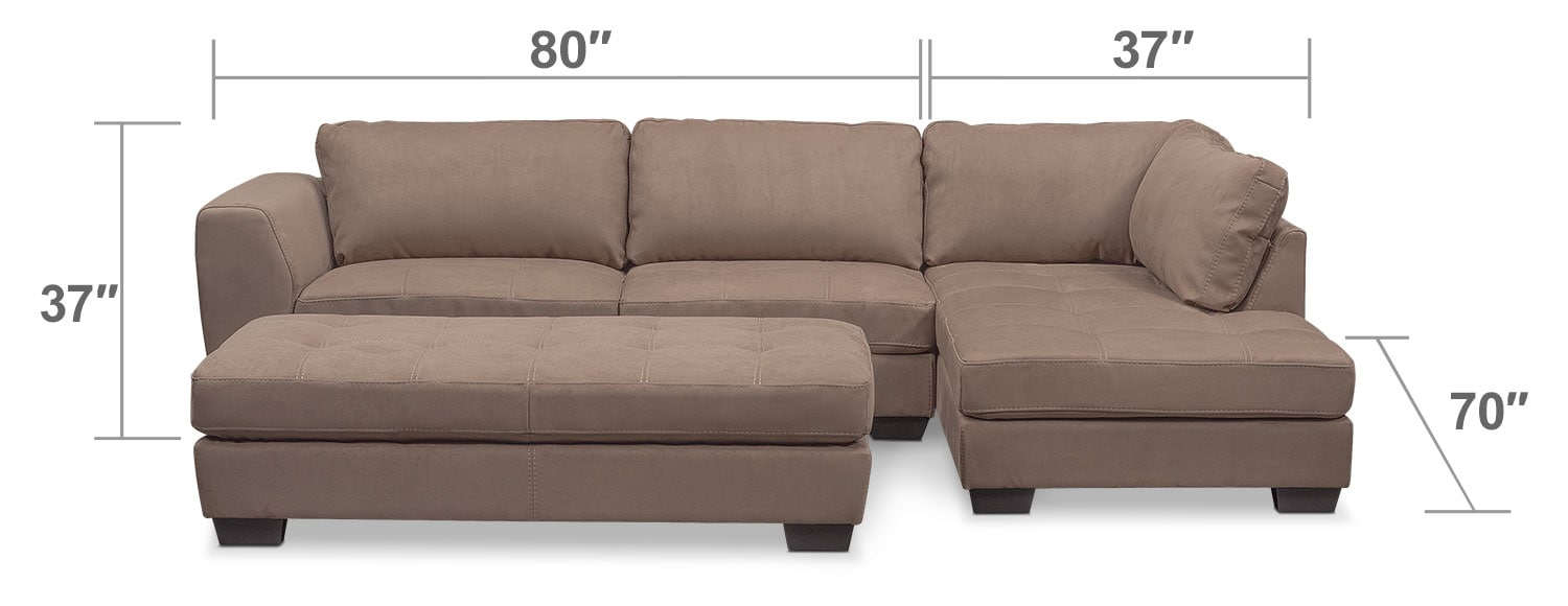 Living Room Furniture - Santana 2-Piece Sectional with Right-Facing Chaise Plus FREE Cocktail Ottoman - Taupe