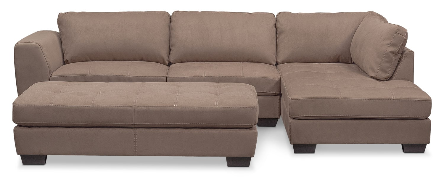 Living Room Furniture - Santana 2-Piece Sectional with Right-Facing Chaise and Cocktail Ottoman - Taupe