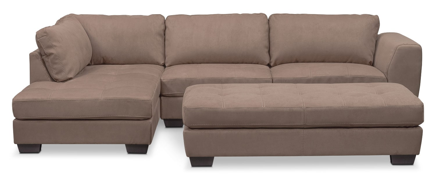 Living Room Furniture - Santana 2-Piece Sectional with Left-Facing Chaise and Cocktail Ottoman Set - Taupe