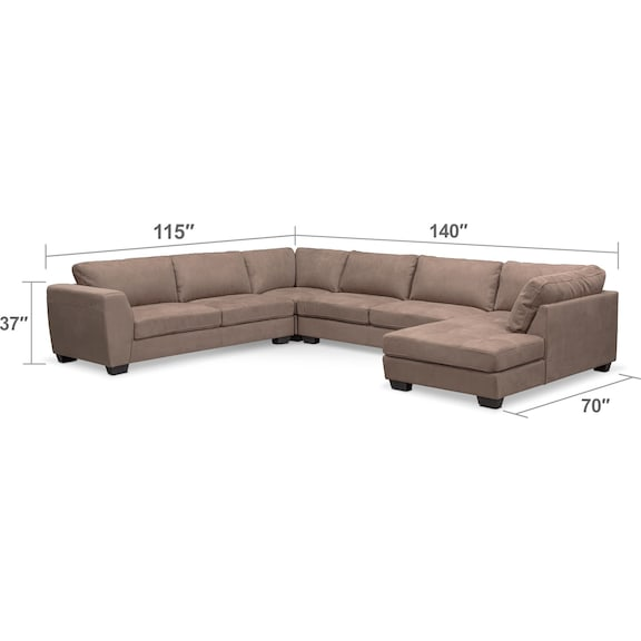Living Room Furniture - Santana 4-Piece Sectional with Right-Facing Chaise - Taupe