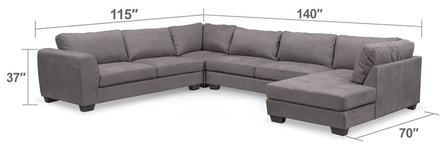 Living Room Furniture - Santana 4-Piece Sectional with Right-Facing Chaise - Slate