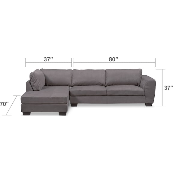 Living Room Furniture - Santana 2-Piece Sectional with Left-Facing Chaise - Slate