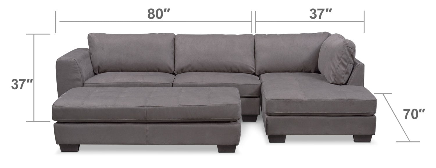 Living Room Furniture - Santana 2-Piece Sectional with Right-Facing Chaise and Cocktail Ottoman - Slate