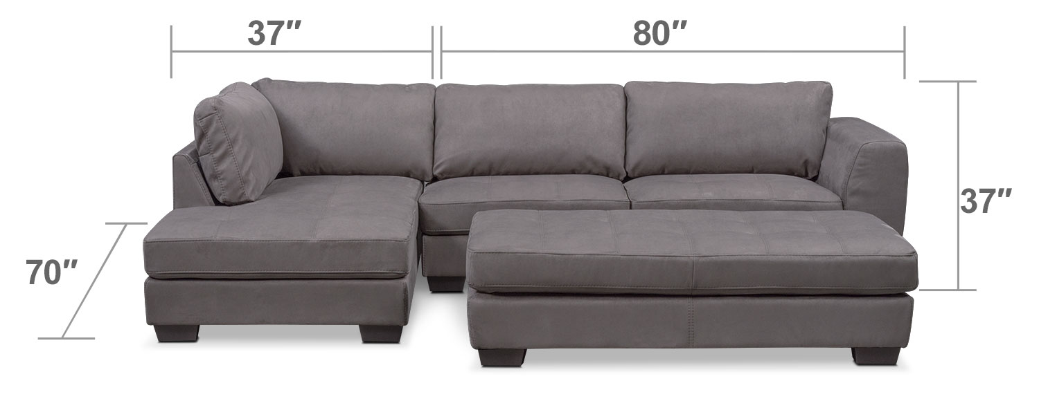 Living Room Furniture - Santana 2-Piece Sectional with Left-Facing Chaise and Cocktail Ottoman Set - Slate