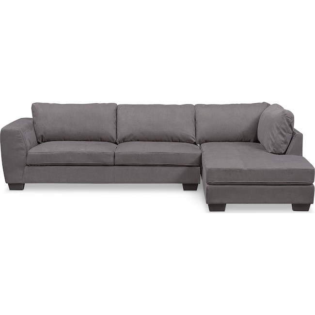 Living Room Furniture - Santana 2-Piece Sectional with Right-Facing Chaise - Slate