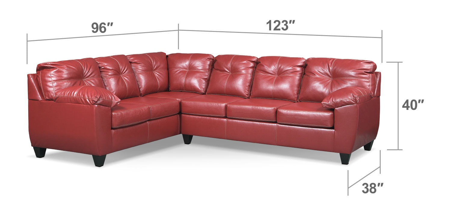 Living Room Furniture - Rialto Cardinal 2-Pc. Sectional with Right-Facing Sofa