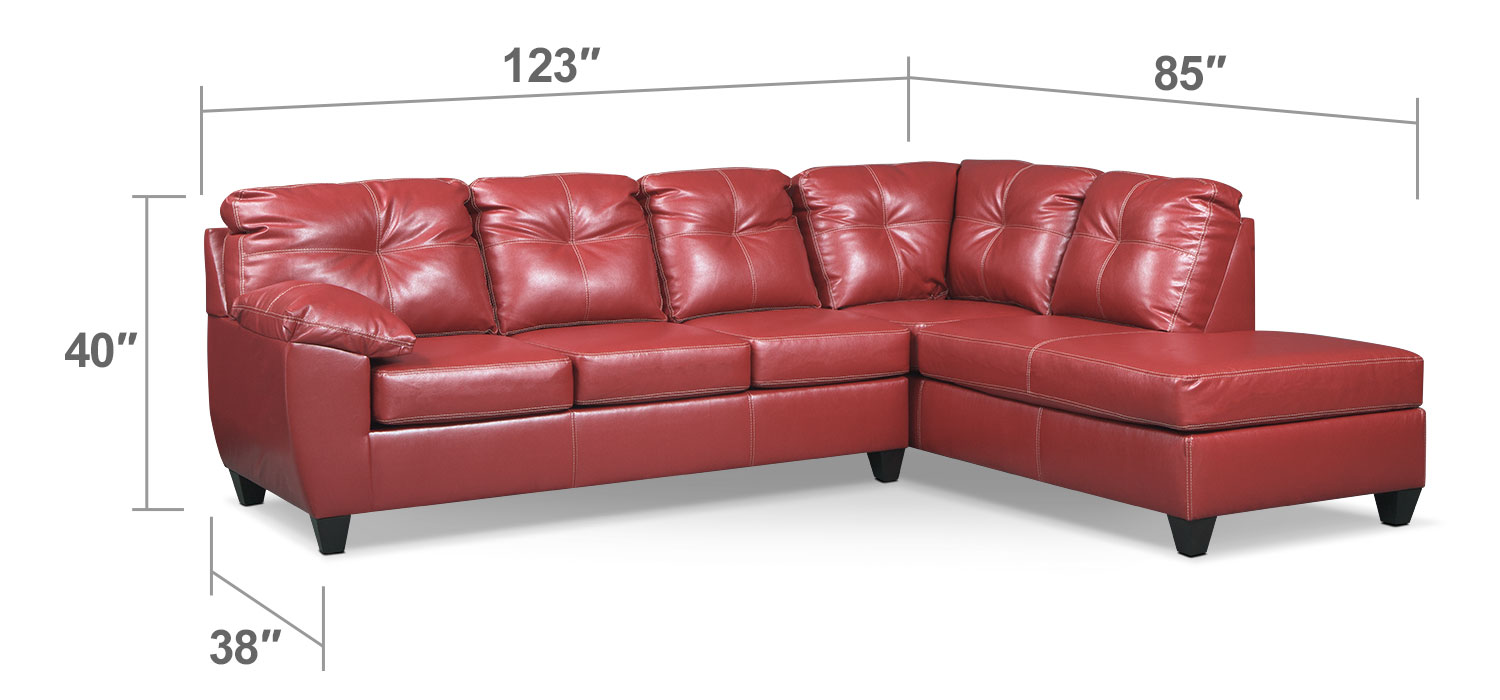 Living Room Furniture - Rialto Cardinal 2-Pc. Sectional with Right-Facing Chaise