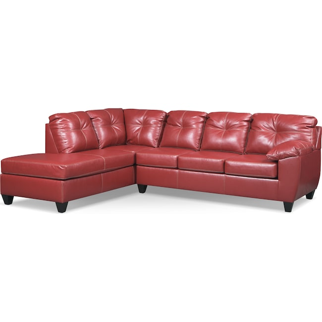 Living Room Furniture - Ricardo 2-Piece Innerspring Sleeper Sectional with Left-Facing Chaise - Cardinal