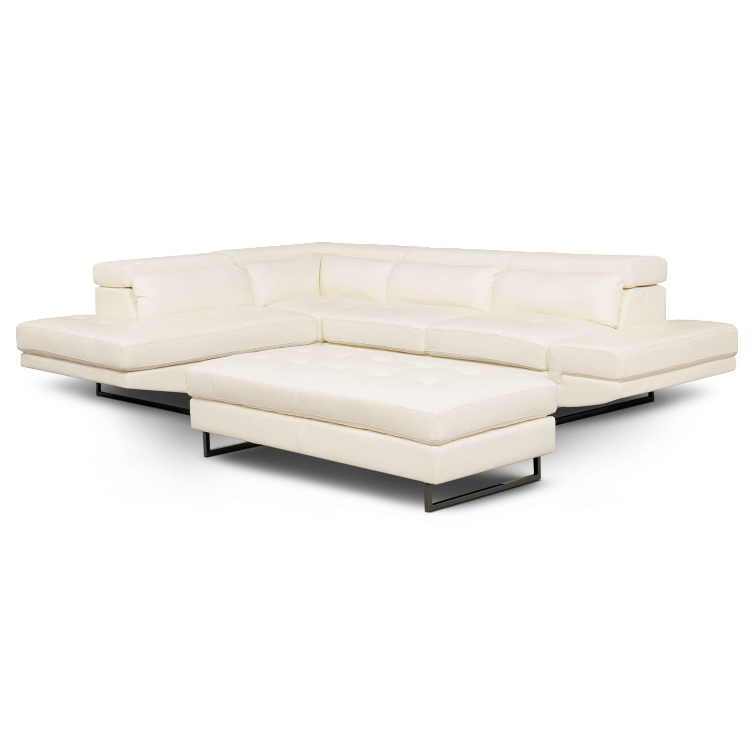 Torino 2-Piece Sectional with Left-Facing Chaise and Cocktail Ottoman - White