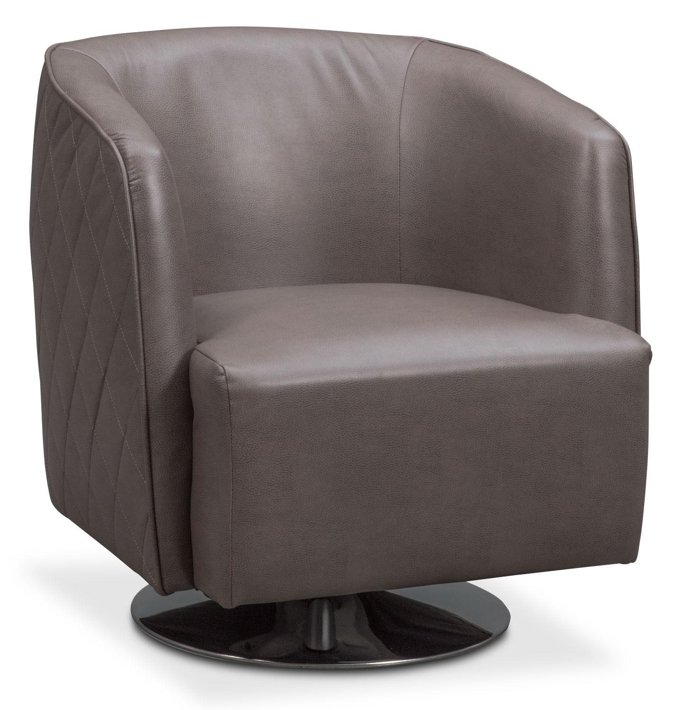 Living Room Furniture - Santana Swivel Chair - Gray