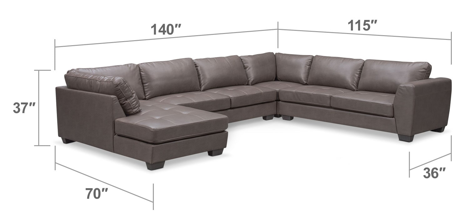 Living Room Furniture - Santana 4-Piece Sectional with Left-Facing Chaise - Gray