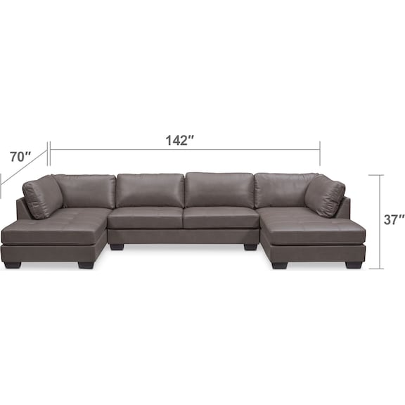 Living Room Furniture - Santana 3-Piece Sectional - Gray