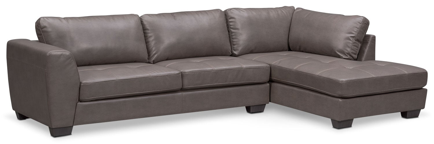 Santana 2-Piece Sectional with Right-Facing Chaise - Gray